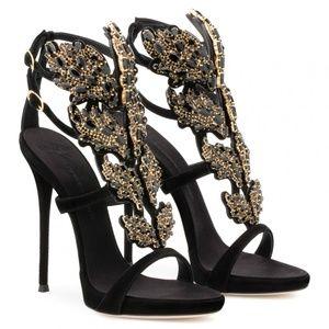 NIB Giuseppe Zanotti Black Suede Cruel Sandals
